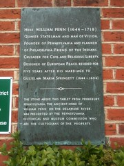 Photo of William Penn and Gulielma Maria Springett marble plaque