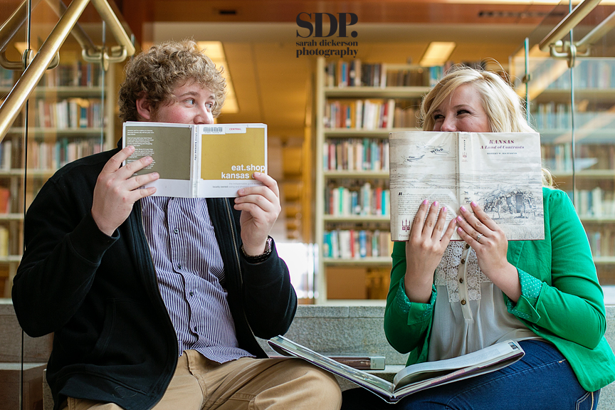 Kansas City downtown library engagement photographs