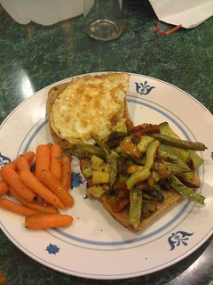 Roasted veggies & Egg on whole wheat ciabatta