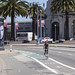 Dashed green bike lane on the Embarcadero approaching Bryant Street