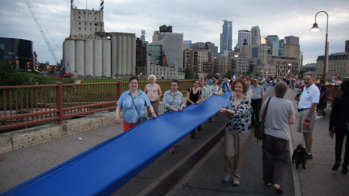 Solstice River XVI: And Peace Will Flow June 23, 2012 on the Stone Arch Bridge in Minneapolis