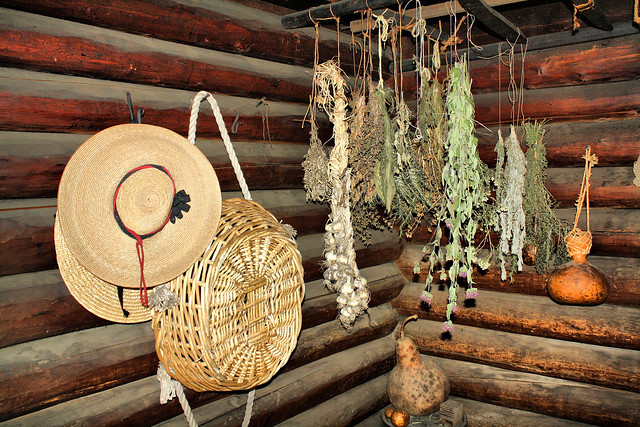 Colonial log cabin hats herbs hanging at yorktown victory for Colonial log homes