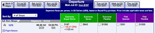 Fare search DFW to MIA