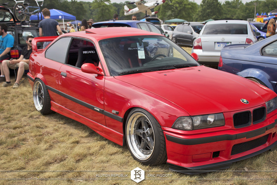 red bmw e36 coupe m3  at euro hanger 2012 Michigan 3pc wheels static airride low slammed coilovers stance stanced hellaflush poke tuck negative postive camber fitment fitted tire stretch laid out hard parked seen on klutch republik