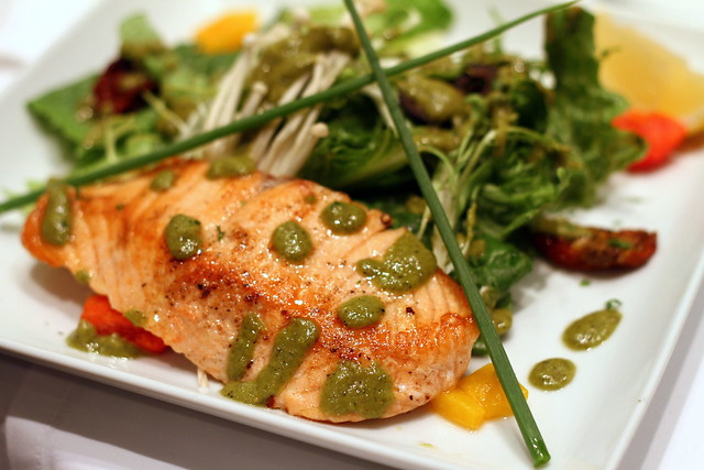 Greyhound Cafe's Grilled Salmon Steak on Green Bed