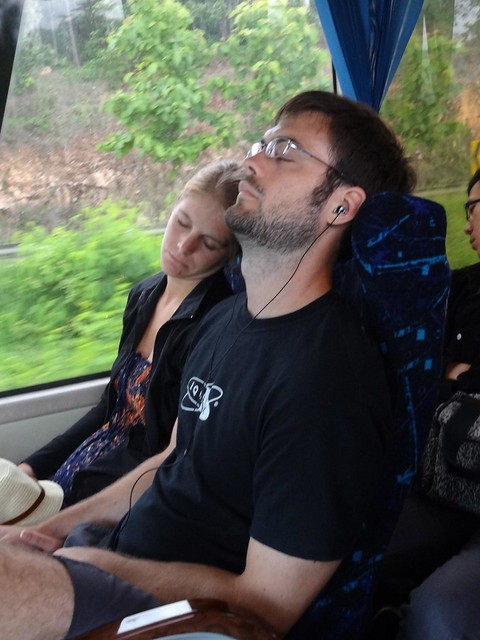 sleeping on thai bus