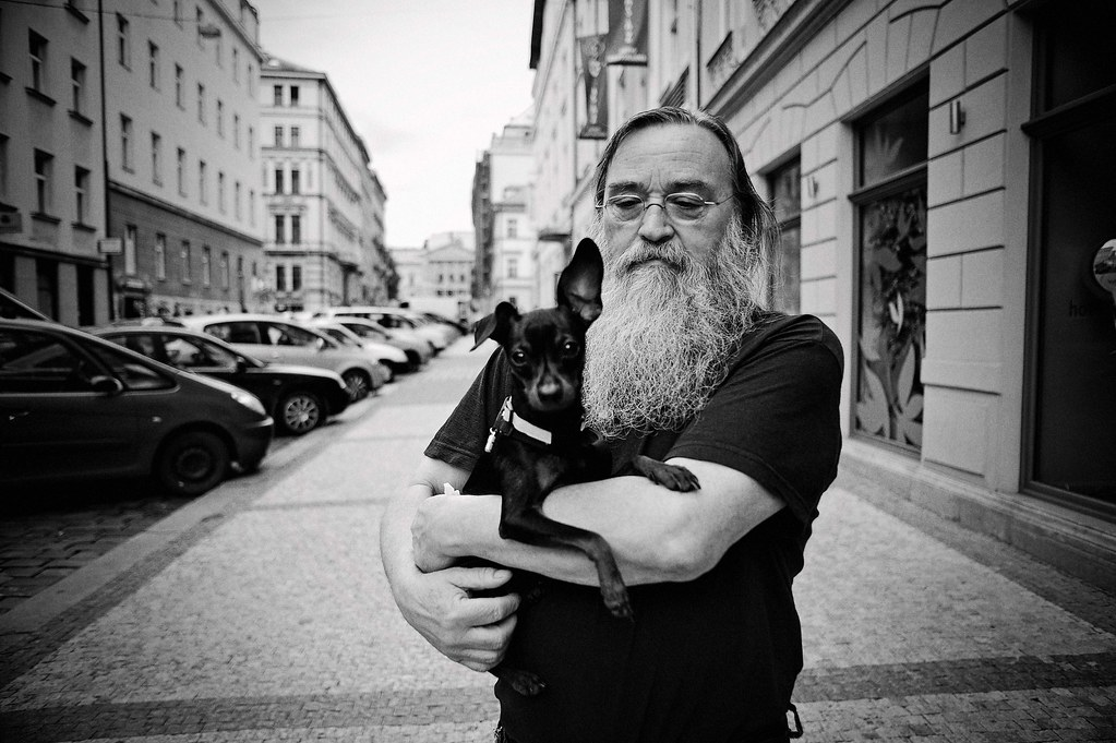 A bearded man with his pet