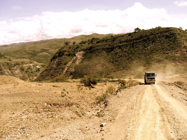 Driving down dirt roads in rural bolivia