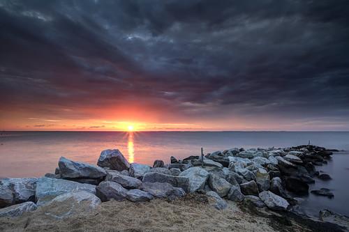 longexposure sun seascape storm beach clouds sunrise dawn early jetty sunday orb maryland northbeach glowing cloudscape chesapeakebay greatexposure singhray darylbenson shootingwithfriends midmonth canon5dmkii rgnd ef1740f40lusm breakingthehorizon