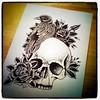Skull, crow, roses (dotwork) Ink pen on
