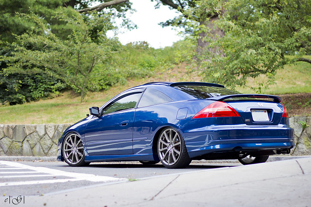 blue 6th gen honda accord coupe with hfp wheels rear view