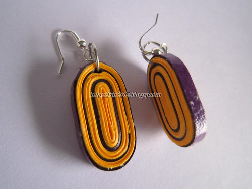 Handmade Jewelry - Paper Quilling Oval Earrings (2) by fah2305