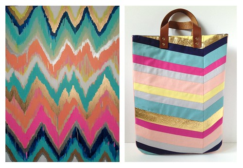 Art-Inspired Chevron Tote Bag - Side by Side