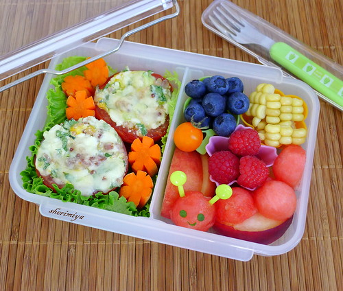 Cheesy Stuffed Tomato Bento by sherimiya ♥