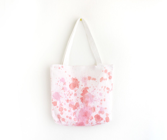 pink splashed dyed tote