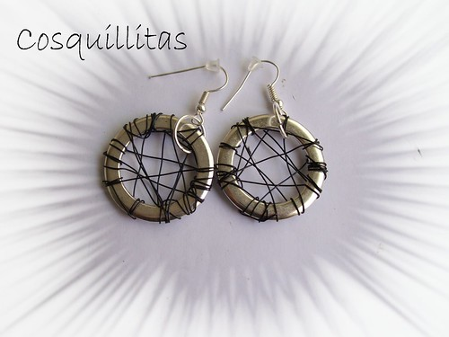 pendientes anillas y alambre by llaverito1979