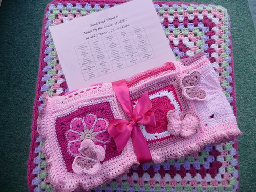 This blanket has been made to raise money for Breast Cancer Care. Assembled by Joanna.