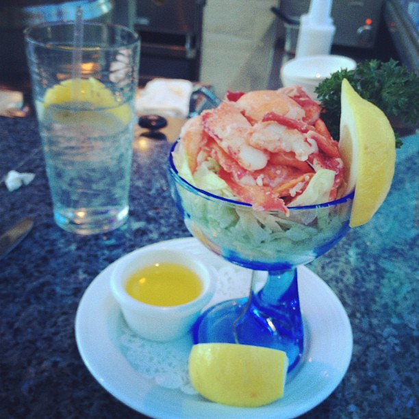 Lobster Cocktail with Clarified Butter (not pictured Salad with hard boiled egg, olive oil and vinegar)