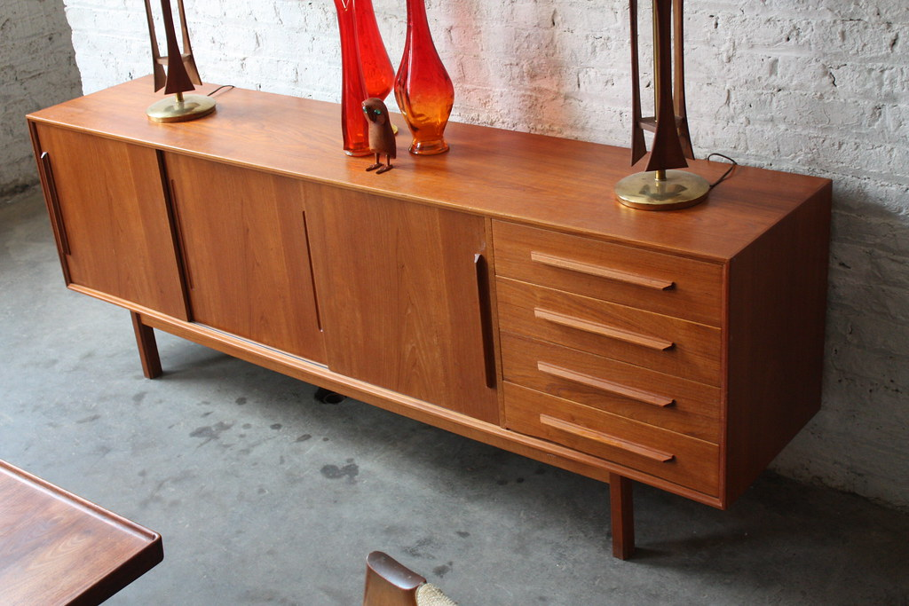 Danish Floating Credenza : Credenza teak trendy handsome restored midcentury modern danish