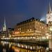 Rathausbrücke mit Aussicht auf Fraumünster, St. Peter und Hotel zum Storchen by Gilbert Kuhnert