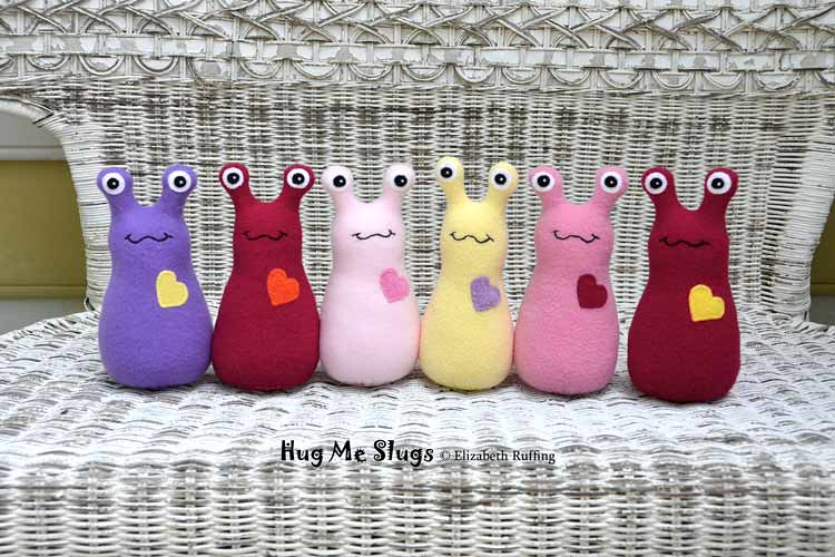 Hug Me Slugs, original art toys by Elizabeth Ruffing