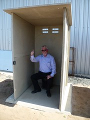 Testing the pre-fab toilet