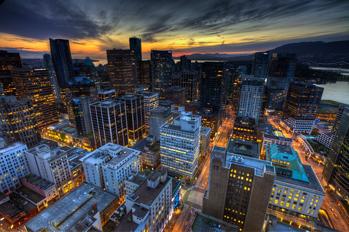 Downtown Vancouver sunset