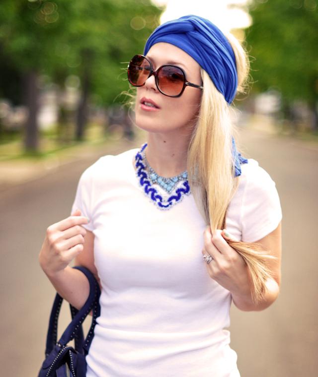 jersey diy turban - vintage blue necklaces