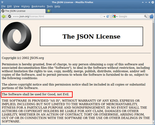 圖4: 「The JSON License」的「For Good Not Evil」要求 (http://www.json.org/license.html)