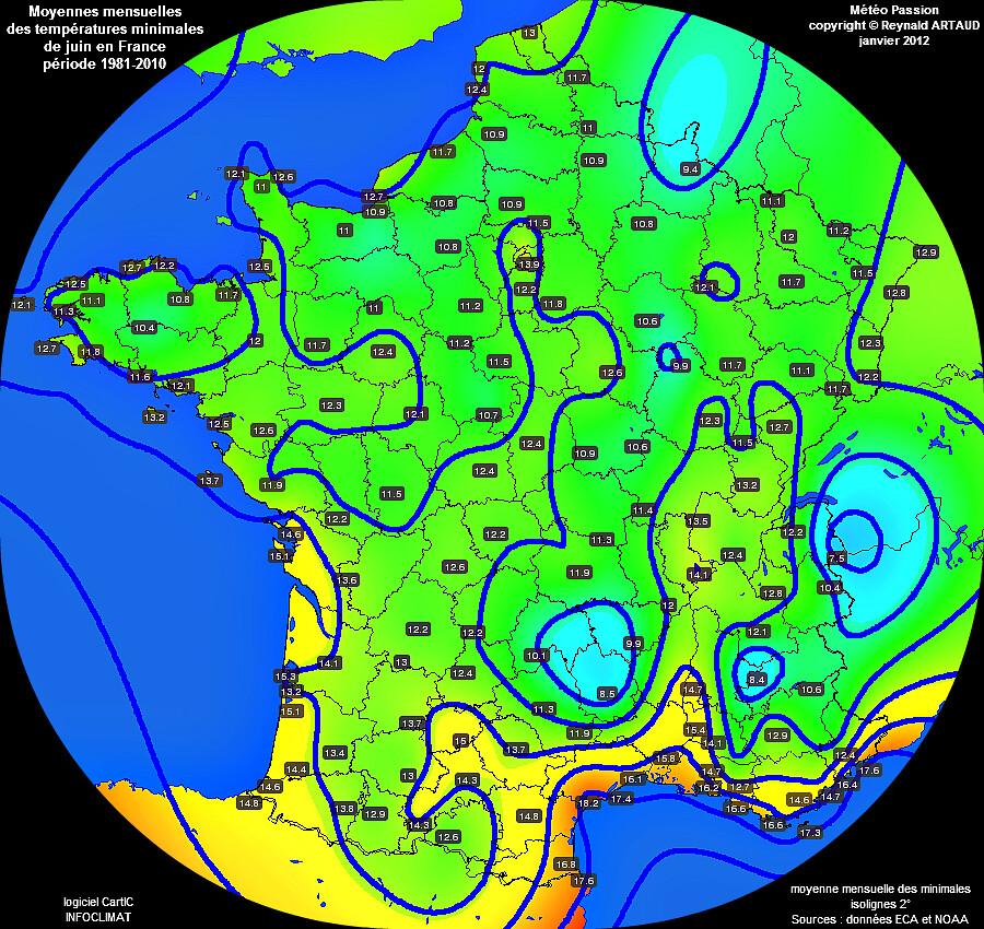 Moyennes mensuelles des températures minimales pour le mois de juin en France sur la période 1981-2010