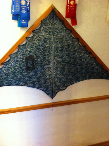 Troll Forest shawl blocking by BlueDragon2