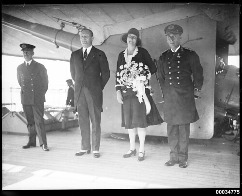 Dutch Consul-General Teppema, Madame Teppema and Rear-Admiral C C Kayser on board HNLMS JAVA, 10 October 1930
