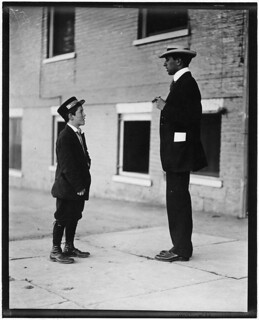 A.D.T. boy, 13 years old. 1 1/2 years at it. Works from noon till 10:30 P.M. Said he carries notes, etc. Burlington, Vt, September 1910