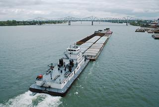 87j069: V. W. Meythaler upbound on Ohio River at Clark Bridge, Louisville, Kentucky