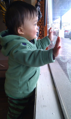 Kid looking out the window