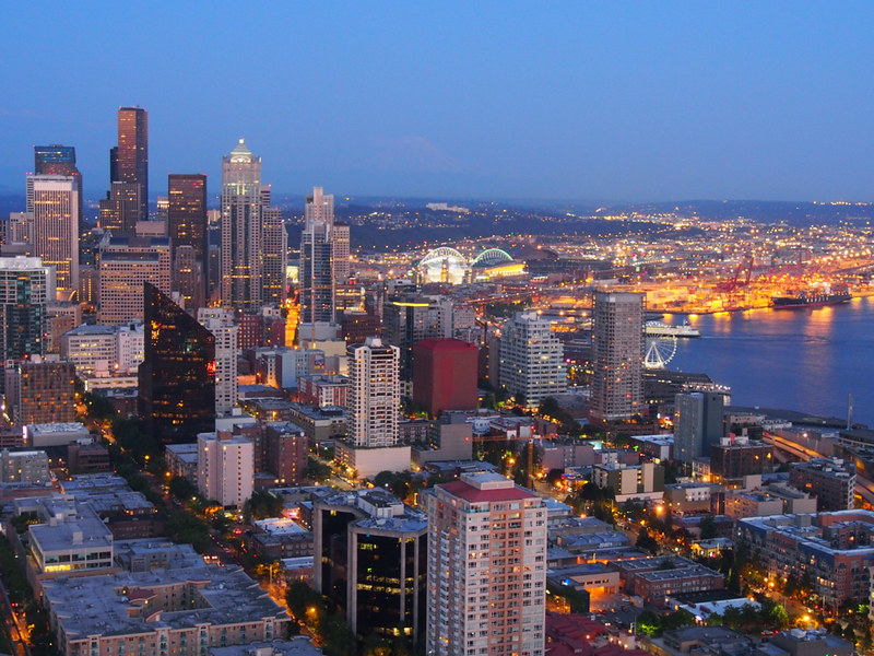 downtown Seattle at twilight