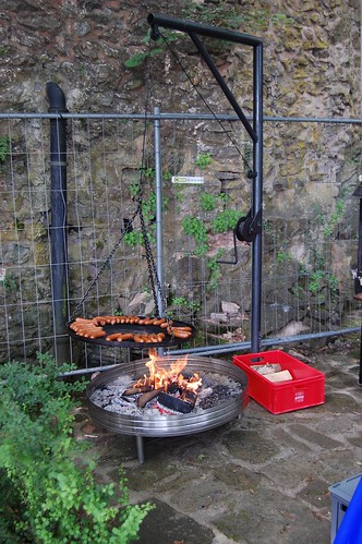 Sausages on an open fire