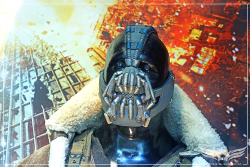 The Establishing Shot: Tom Hardy's original Bane Costumes from The Dark Knight Rises Head Detail - London by Craig Grobler