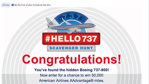 American Airlines #Hello737 Facebook promotion