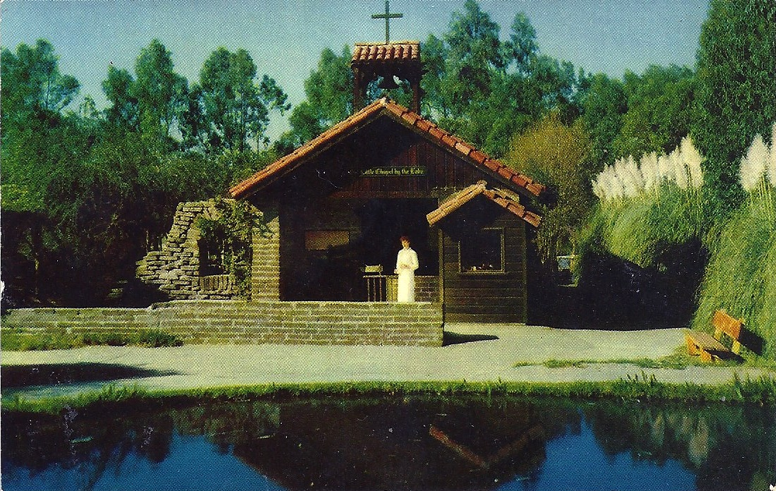 Our Little Chapel by the Lake with hostess in white, Reflection Lake, Knott's Berry Farm, Buena Park, California, postcard, circa 1942