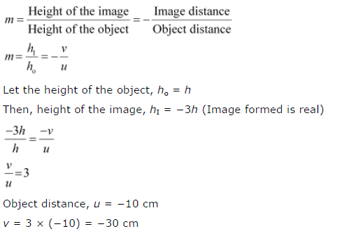 Ncert solutions for class 10 science chapter 10 light reflection and let the height of the object ho h then height of the image hi 3h image formed is real 3hh uv vu 3 object distance u 10 cm ibookread PDF