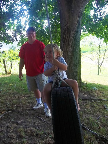 Big Girl Bee on the Tire Swing