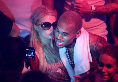 Paris Hilton and Chris Brown party