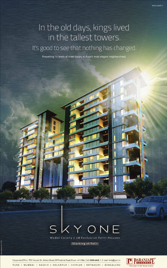 Paranjape Schemes' Sky One Rs. 4 Crore Onward Pent-Houses at Model Colony Pune 411 016