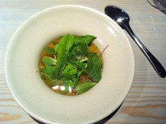 Grains and butter, fermented turnip and green leafs, beef broth filtered through autumn leaves