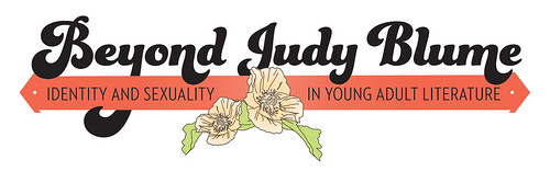 Logo that says Beyond Judy Blume: Identity and Sexuality in Young Adult Literature across a red banner with white flowers below it