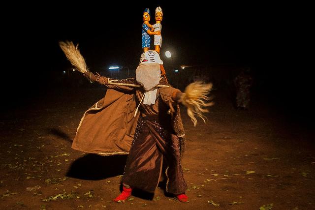 Benin vodooo mask gelede, in Dedougou, Sahel, northern Burkina Faso