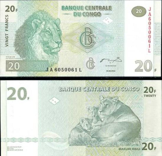 20 Frankov Kongo Dem.Rep. 2003, Pick 94