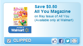 May Issue Of All You (available Only At Walmart)  Coupon