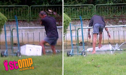 Delivery guy disposes of rubbish into canal at East Coast Park